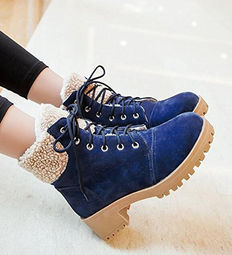 IDIFU Womens Warm Platform Mid Chunky Heels Ankle Snow Boots Fleece Lined Lace Up Martin Booties Blue TZZ0QqqY1