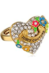 Juicy Couture Pave Heart and Flower Adjustable Ring