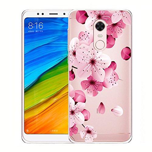 Cover para Xiaomi Redmi 5 Plus ( No hacer coincidir Xiaomi Redmi 5 ) , WenJie Ultrafino Transparente Accesorios Regalo Gato de la mariposa de la flor TPU Silicona Suave Funda Case Tapa Caso Parachoque WM113