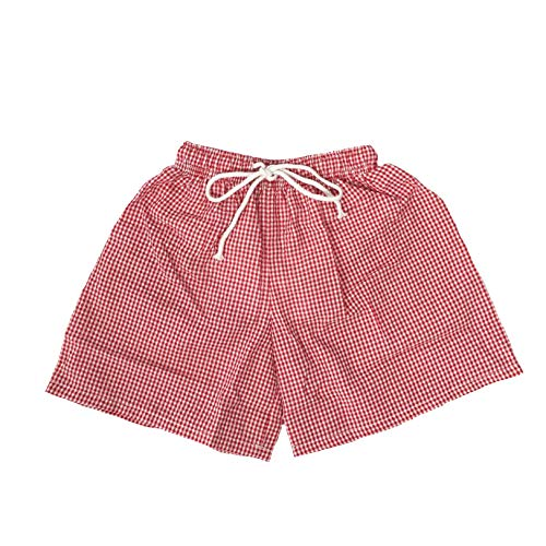 Chichoice Baby Boys Seersucker Swim Trunks Toddler Boys Drawstring Waist Swimsuit Beach Short with Navy Gingham Trim Dawstring (Red, - Shorts Seersucker Gingham