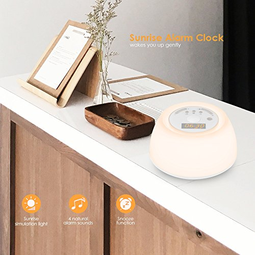 INLIFE Up Alarm Clock Wireless Light Sunrise and Sounds, Noise with 4 Sleep 7 Multicolor Rechargeable Night Light