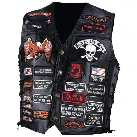 Genuine Black Leather Vest with 42 Patches - Extra Large