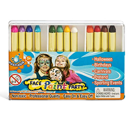 IQ Toys 12 Color Face Paint Safe and Non Toxic Crayons, Halloween Party -