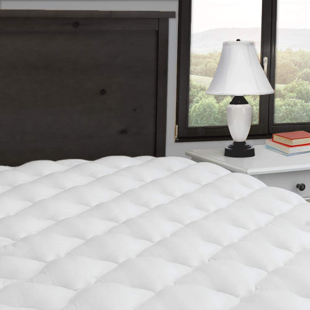 ExceptionalSheets Extra Plush and Extra Thick Mattress Pad with Fitted Skirt - Found in Marriott Hotels - Hypoallergenic - Proudly Made in The USA, King Size