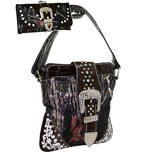 (Western Camouflage Embroidered Rhinestone Buckle Belt Como Cross Boday Messenger Bag With Matching Wallet -CAM/Multi)