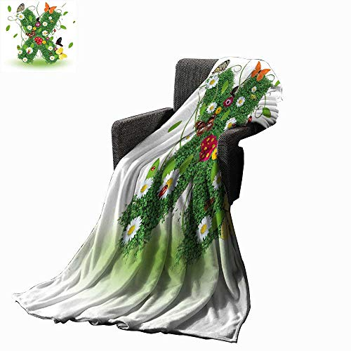 Luckyee Letter X Lightweight Blanket Spring Themed X with Green Leaves Butterflies Daisies Swirls Nature Image 70