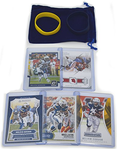 Melvin Gordon Football Cards Assorted (5) Bundle - Los Angeles Chargers Trading Cards