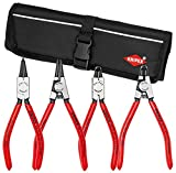 Knipex 9K 00 19 52 US Straight and 90° Circlip Snap-Ring Pliers Set in Pouch (4 Piece)
