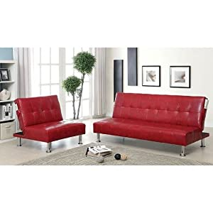 Modern Quality Leather Luxury Futon Sofa Lounge Loveseat Office Home  Bedroom Living Room Furniture Bed Sleeper Set Red
