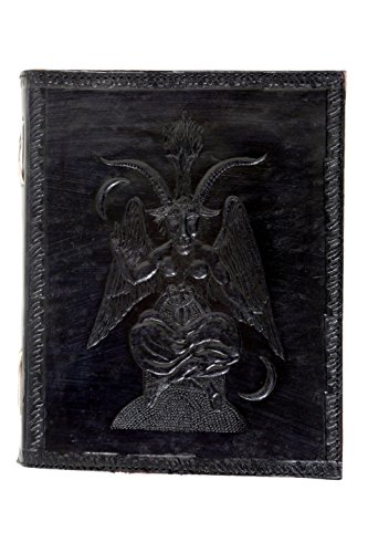 Imperial Handmade Leather Journal Embossed Baphomet Satan Front and Floral Artwork Vintage Handmade Notebook Diary Sketchbook Travel And Thought Blank Book for Writing & Sketching (9 X 7'') by Imperial Handicrafts