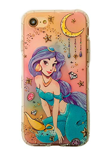 Phone Kandy Embossed 3D Anti Bump Shockproof Drop Proof Floral Clear Transparent Cute Cartoon TPU Silicone Case & Screen Guard (EMB03) (iPhone 7 or 8, Princess -