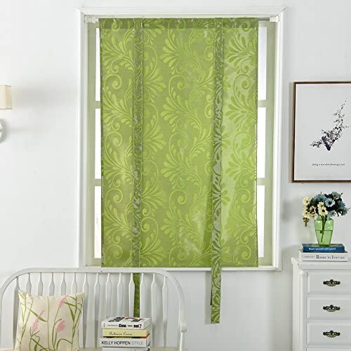 NAPEARL Jacquard Tie Up Balloon Curtain 1 Panel for Kitchen 55 Wx63 L, Green