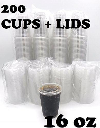 (200 SETS) Plastic Disposable Cups with Lids - Premium 16 oz (ounces) Crystal Clear PET for Cold Drinks Iced Coffee Tea Juices Smoothies Slush Soda Cocktails Beer Kids Safe (16oz Cups + Flat Lids)
