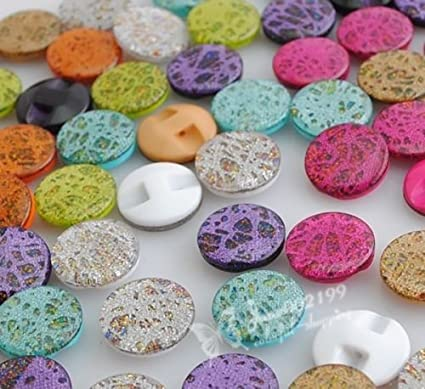 100 pcs Mixed Colors Round Plastic Buttons Lot 12.5MM Craft Sewing DIY Cards