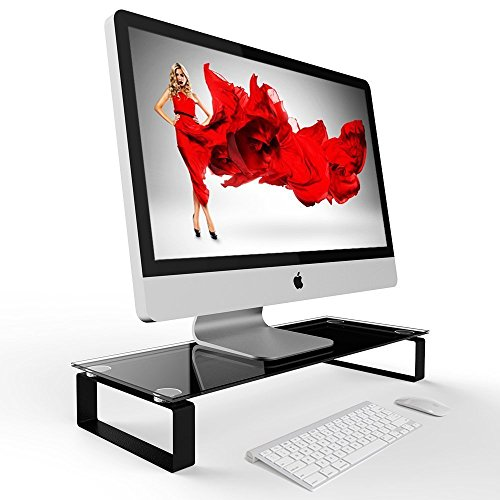 Eutuxia Type-S Black Tempered Glass Monitor Stand, TV, Lapto