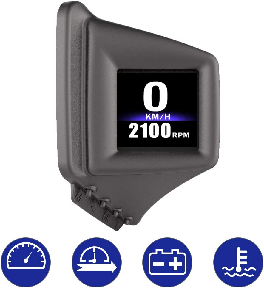 Smart Head Up Windshield with Navigation,Vehicle Speed Mph,Engine RPM JNUYISW 2020 Upgraded Car HUD Display AP-1 Universal OBD2+GPS Dual System Speedometer Overspeed Warning Mileage Odometer