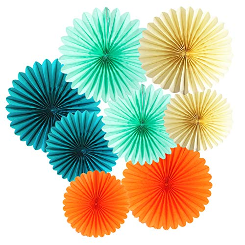 Qian's Party 8pcs Tissue Paper Fans -Summer Birthday Party Decorations for Tropical Party, Luau Party, Hawaiian Party Theme, Summer Party Tropical, Tropical Luau Party Supplies, Pool Party