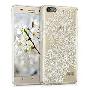 kwmobile Crystal Case Cover for Huawei G Play Mini IMD design and TPU silicone frame with synthetic back - transparent soft Design Ethno-flowers