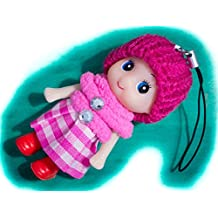 Cute Cherry Snug Cozy Doll Wool Pompom Toy Charm Keyring Keychain Key Chain Soft Fluffy Cotton Knit Hat Gem D Dung D-Dung Sweet Unusual Innocent Hipster (Cherry Pink)