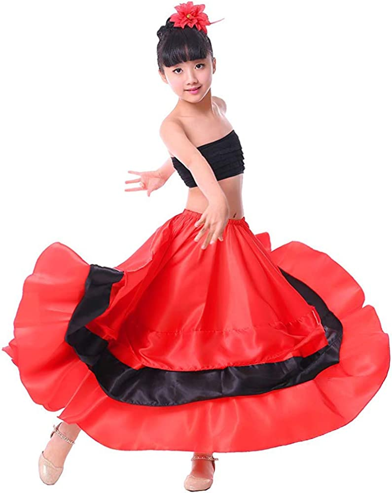 Girls Black Red Layers Satin Long Skirt for Spanish Flamenco Belly Dance Gypsy Folklorico Performance Halloween Costume: Clothing