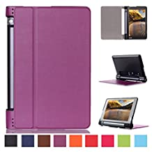 Lenovo Yoga Tab 3 8 Leather Case,Lenovo Tab3 8 Case,Folio Cover [Magnetic Closure][Slim Fit] Folding Case Cover for Lenovo Yoga Tablet 3 8-Inch-Purple