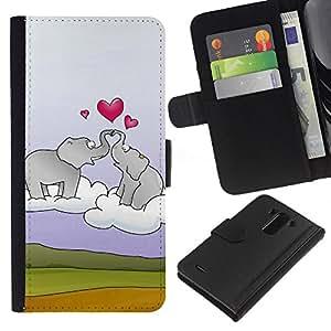 KingStore / Leather Etui en cuir / LG G3 / Elefante y el corazón