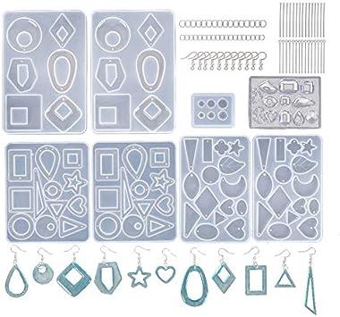 Jcevium 3 pares de pendientes con forma de resina con 2 piezas para la oreja, joyas de resina epoxi de silicona, con enganches para pendientes, anillos de salto