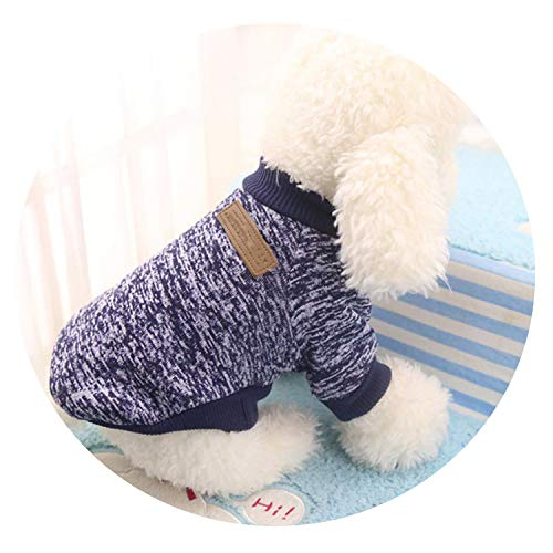 Classic Warm Pet Clothes Soft Pet Dog Sweater Clothing for Dog Clothes Pet Outfit,Dark Blue,XS]()