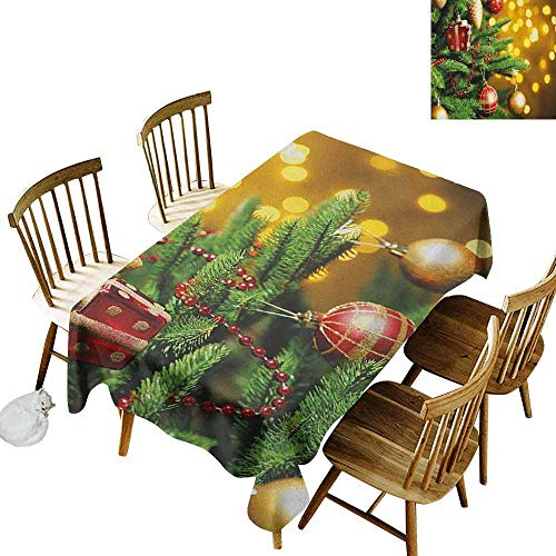 DONEECKL Christmas Colorful Tablecloth Protection Table Close Up Decorated Christmas Tree Branches on Blurred Fairy Backdrop Picture Gold Green Red W60 xL102