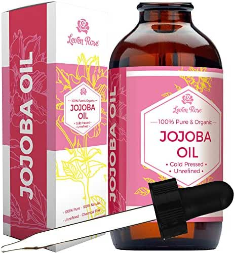 Leven Rose Organic 100% Pure Cold Pressed Unrefined Natural Jojoba Oil, 4 oz