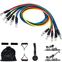 ASOCEA 11pcs Resistance Band Set - 5 Exercise Bands,Door Anchor,Handles, Ankle Straps - Workout Bands Stretch Exercise Pull up Rubber Bands for Men Women Home Travel Fitness Gyms Strength