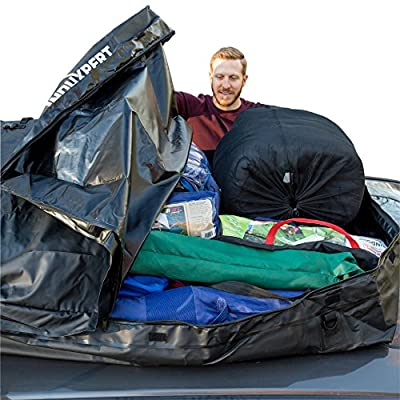 Induxpert Rooftop Cargo Bag - 100% Waterproof - Works with or without car racks - Install in seconds - 18.5 Cubic Ft - PVC Coating, Dual Seam Technology, Protects Cargo - Durable - 55 L x 37 W x 16 H