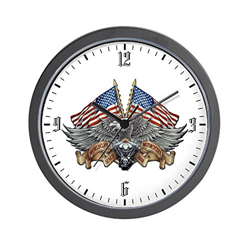 American Eagle Clock - Wall Clock Eagle American Flag Motorcycle Engine