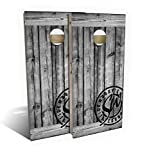 Slick Woody'S Rustic Grey Barnwood Cornhole Set with 8 Cornhole Bags, Baltic Birch Plywood Tops for The Smoothest Flattest Playing Surface, Retractable Legs and Back Bounce Brace