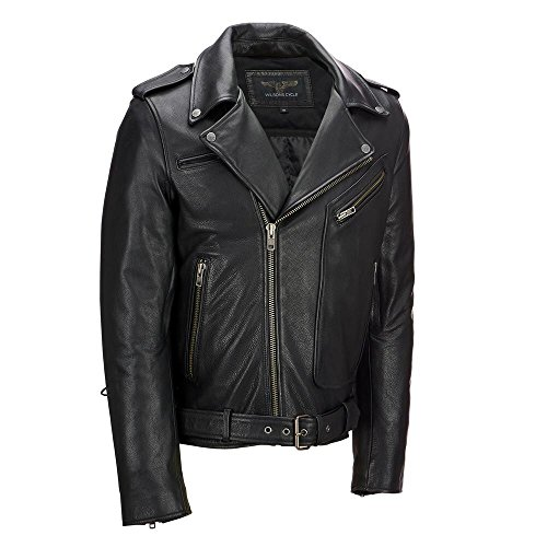 Wilsons Leather Mens Performance Asymmetric Leather Motorcycle Jacket W/Side LA (Wilsons Leather Jacket Men)
