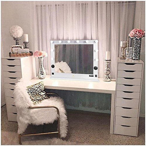 "Hollywood Lighted Makeup Vanity Mirror Light, Makeup Dressing Table Vanity Set Mirrors with Dimmer, 36""x 30""XL Large Makeup Mirror with 10 LED Lights"