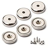 GREATMAG Extreme Power Rare Earth Cup Magnets,1.26'' Diameter, Industrial Strength Round Base Neodymium Magnets, Countersunk Hole for #10 Bolt, 90 lbs Holding Force, Pack of 6