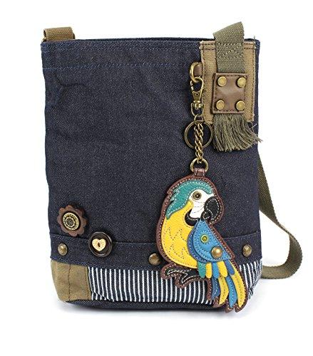 - Chala Patch Cross-Body Women Handbag, Blue Denim Canvas Messenger Bag - Parrot Blue, Denim