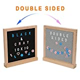 Letter Board 10x10 inches, Black&Gray Changeable Felt Message Board Double Sided with Stand, Oak Frame, Hanging Hook, Organizer Bag & 522 Characters, Numbers & Symbols Marquee Sign Baby Announcement
