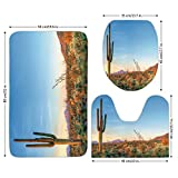 3 Piece Bathroom Mat Set,Saguaro Cactus Decor,Sun Goes Down in Desert Prickly pear Cactus Southwest Texas National Park,Orange Blue Green,Bath Mat,Bathroom Carpet Rug,Non-Slip