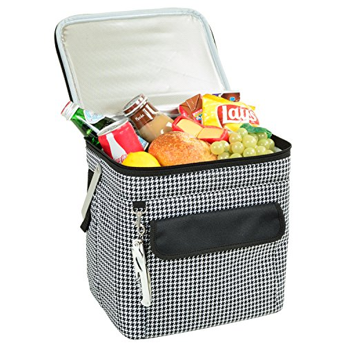 - Picnic at Ascot 6 Bottle Insulated Wine Tote- Collapsible Multi Purpose Cooler - Houndstooth