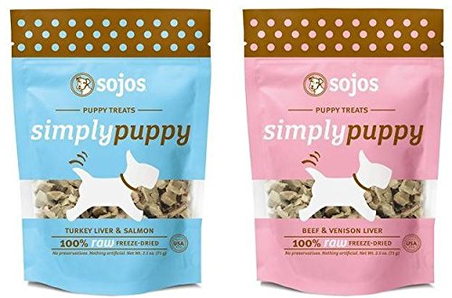 Sojos Simply Puppy 2 Flavor Bundle - Includes Sojos Simply Puppy Freeze Dried Beef Venison Treats and Sojos Simply Puppy Turkey/Liver/Salmon Treats 2.5-Ounces each