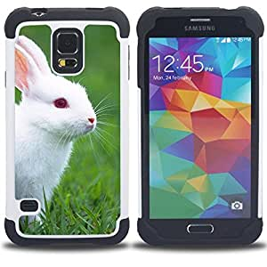 King Case - rabbit cute white blue eyes grass nature - Cubierta de la caja protectora completa h???¡¯???€????€?????brido Body Armor Protecci&Atil