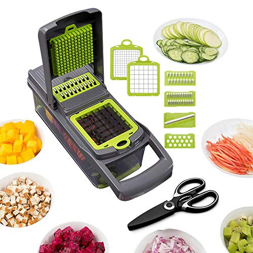 QELEG Kitchen Vegetable Chopper with Scissors, Pro Mandoline Slicer with Container, 8 in 1 onion chopper slicer dicer for Carrots, Cabbage, Potato, Garlic, Tomato, Fruit, Salad