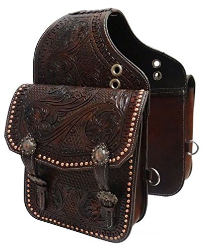 - Showman ® Tooled Dark Oil Leather Saddle Bag with Engraved Antique Bronze Conchos and Buckles