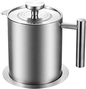 TOPZEA 304 Stainless Steel Grease Container with Fine Mesh Strainer, 1.3 Quart Oil Storage Pot Grease Keeper Oil Filter with Handle & Lid, Bacon Grease Strainer Can for Frying Oil, Kitchen Cooking Oil