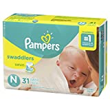 Pampers Swaddlers Disposable Baby Diapers Size 0 < 4.5 kg for Newborn, Jumbo Pack, 31 Count