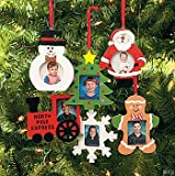 Wooden Photo Frame Christmas Ornaments - Box of 12 Assorted Styles - Snowman Tree Santa Train Snowflake & Gingerbread Man