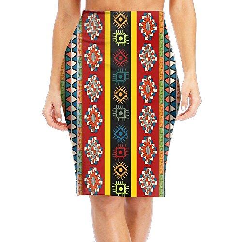ZeTian H Stylish Womens Print Slim High Waist Pencil Skirts Retro Turkey Pattern Knee-Length Skirt - Taffeta Ticking