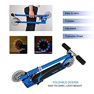 Scooter for Children, OUTAD Lightweight, Super-Tough and Adjustable Aluminum Foldable Kids Kick Scooter with 2 PU Wheels (Blue)